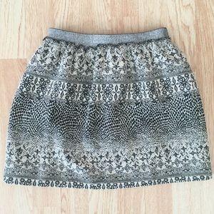 Zara Girls Tapestry Black & White Floral Skirt